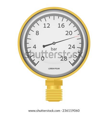 Vector illustration - Gold manometer \ barometer. EPS10. - stock vector