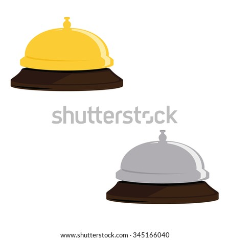 Vector illustration golden and silver hotel bell. Reception bell flat icon. Reception service bell - stock vector
