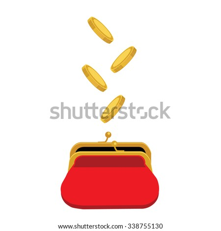 Vector illustration golden coins falling in red retro purse. Dollars dropping in open purse. Saving money concept - stock vector