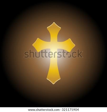 Vector illustration; Golden cross with the light for ransom. - stock vector