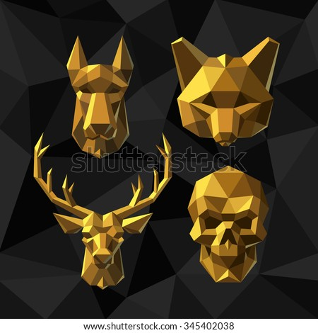 Vector illustration Golden Dog, Fox, Deer, Skull. Polygon style. - stock vector