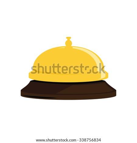 Vector illustration golden hotel bell. Reception bell flat icon - stock vector