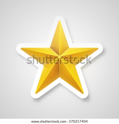 Vector illustration. Golden realistic star sticker.