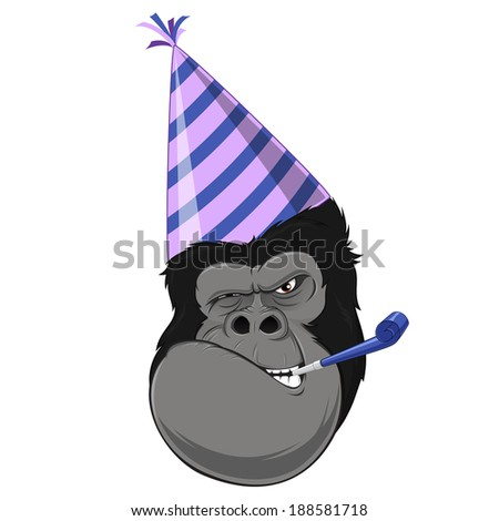 Vector illustration: Gorilla head with hat - stock vector