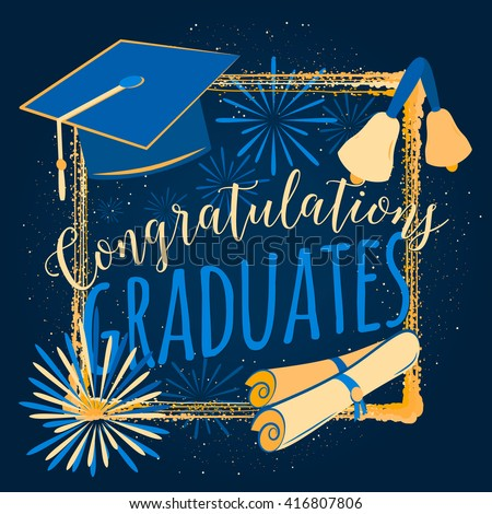 Vector Illustration Graduation Background Congratulations ...