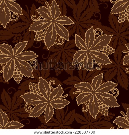 Vector illustration grapes floral seamless for restaurant decor - stock vector