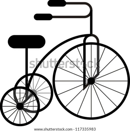 Vector illustration, graphics. Image sign. vintage bicycle