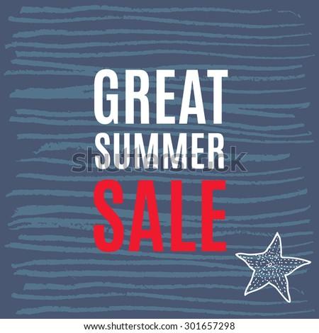 Vector illustration great summer sale grunge label. - stock vector