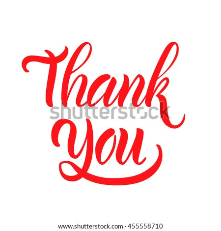 """Vector illustration. Greeting card. The phrase, """"Thank you."""" Hand lettering, calligraphy. Brush marker. - stock vector"""