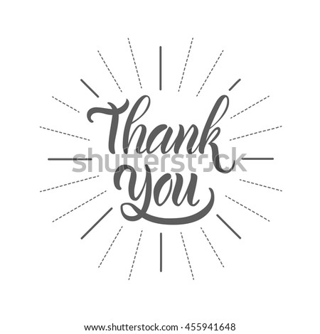 "Vector illustration. Greeting card. The phrase, ""Thank you."" Hand lettering, calligraphy. Brush marker. - stock vector"