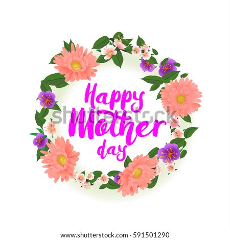 Vector illustration greeting card mother day stock vector 591501290 vector illustration greeting card to mother day with decorate calligraphy text and flower frame m4hsunfo