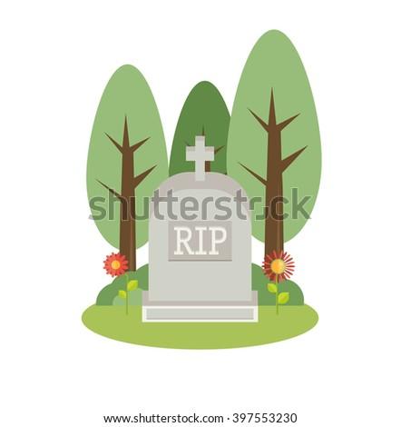 Vector illustration grey gravestone. Flat tombstone icon - stock vector