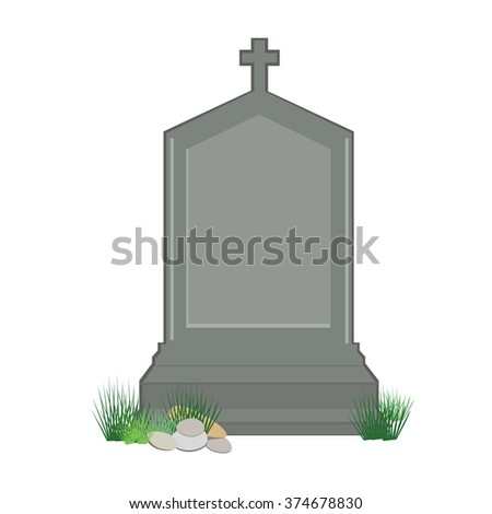 Vector illustration grey gravestone with cross on green grass. Flat tombstone icon - stock vector