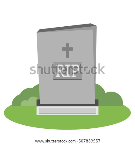 Vector illustration grey gravestone with cross on green grass. Flat tombstone icon