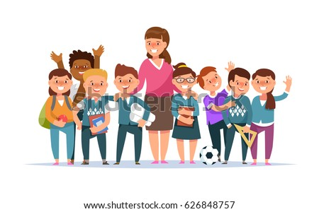 Vector illustration group elementary school boy and girl and teacher in classroom in cartoon style isolated. The design concept postcard for teachers ' day