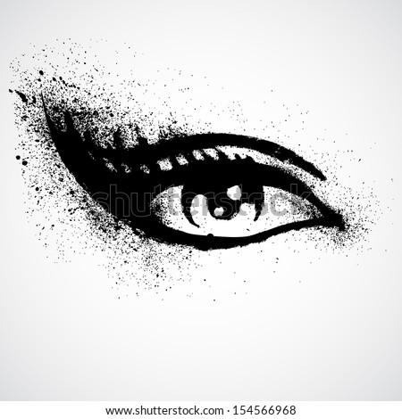 Vector illustration grunge beautiful female eye - stock vector