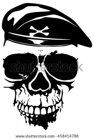 Vector illustration grunge soldier skull in beret for t-shirt design or tattoo