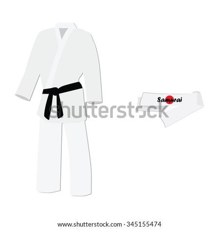 Vector illustration hachimaki national japanese headband with japan flag. Samurai bandana. White training kimono with black belt karate sport  - stock vector