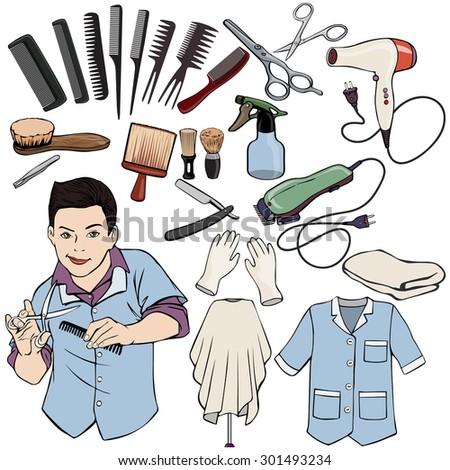 Vector illustration, hairdresser gear, cartoon concept, white background. - stock vector