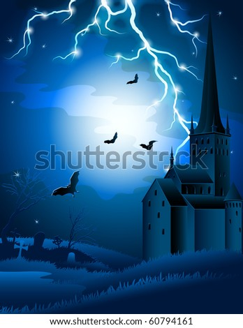 Vector illustration - Halloween background with lightning and castle - stock vector