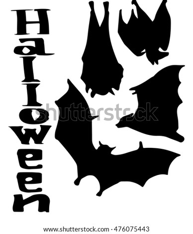 Vector illustration halloween bats silhouette set