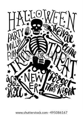 vector illustration halloween calligraphic poster on white backdrop