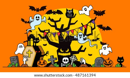 Vector illustration - Halloween concept template scary graveyard dead tree ghosts pumpkin bat full moon