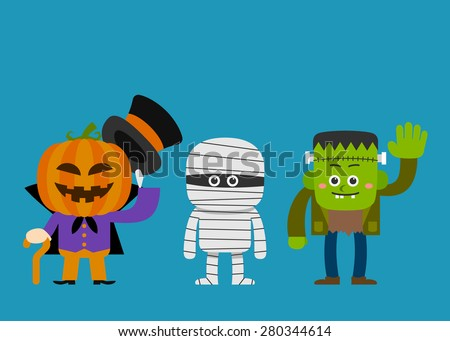 Vector illustration - halloween costume characters - stock vector