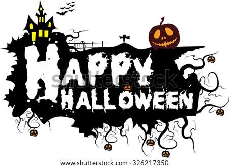 Vector illustration Halloween Happy Halloween message - stock vector