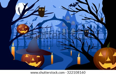 Vector illustration. Halloween. Pumpkin hat against the backdrop of bare trees, gates and old house. - stock vector