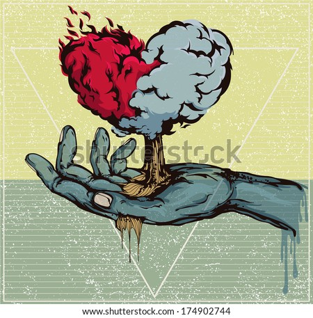 Vector illustration: Hand and heart - stock vector