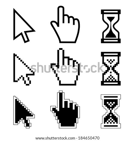 Vector illustration hand cursor hourglass. Black and white illustration  - stock vector