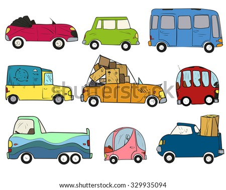 Vector illustration. Hand drawing, colored cars on a transparent background. - stock vector