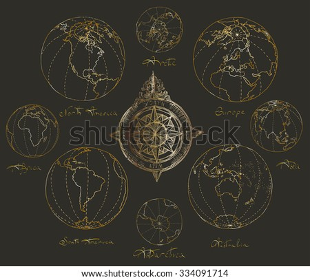 Vector illustration. Hand drawing continents: Australia, North America, South America, the Arctic, Antarctica, Africa, Europe, Asia. - stock vector