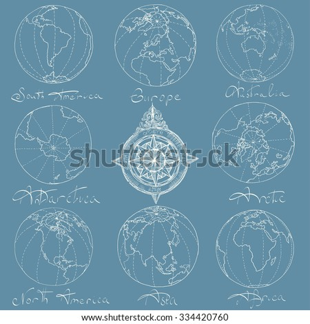 Vector illustration. Hand drawing continents: Australia, North America, South America, the Arctic, Antarctica, Africa, Europe, Asia.White on a blue background. - stock vector