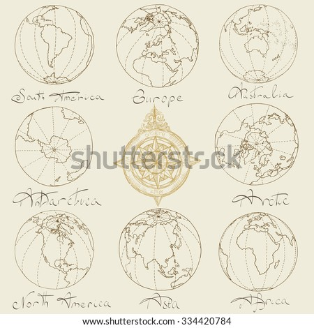 Vector illustration. Hand drawing continents: Australia, North America, South America, the Arctic, Antarctica, Africa, Europe, Asia.Brown on a light background. - stock vector