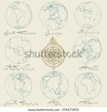 Vector illustration. Hand drawing continents: Australia, North America, South America, the Arctic, Antarctica, Africa, Europe, Asia.Blue on a light background. - stock vector