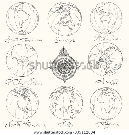 Vector illustration. Hand drawing continents: Australia, North America, South America, the Arctic, Antarctica, Africa, Europe, Asia.Black on white background. - stock vector