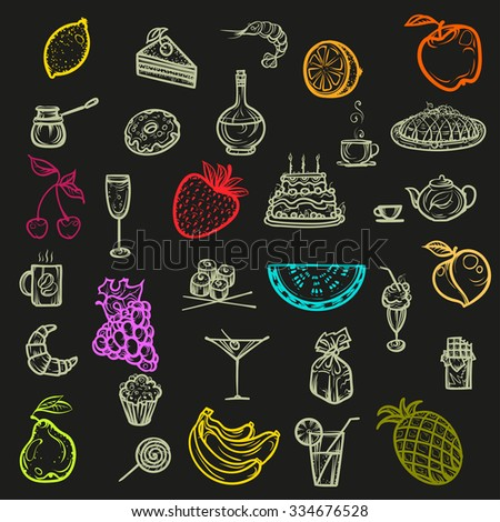 Vector illustration. Hand drawing icons snacks, fruit and dessert.Colored on a black background. - stock vector