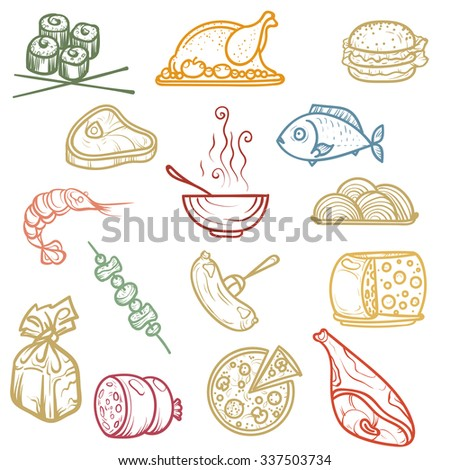 Vector illustration. Hand drawing.Multicolored icons products on light background.