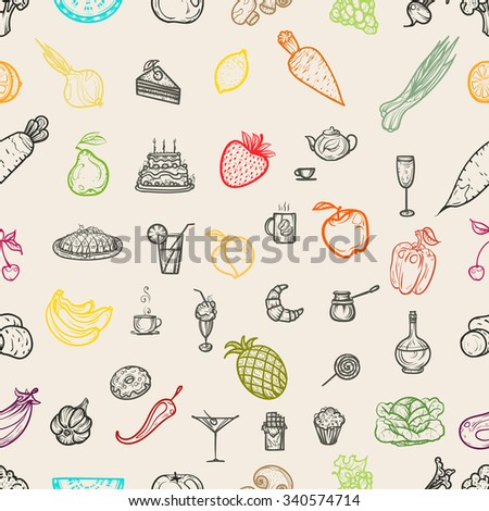 Vector illustration. Hand drawing vegetables. Seamless pattern.