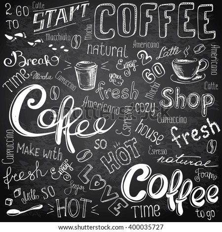 Vector illustration hand drawn coffee to go, cups, mugs, beans and lettering types . Black and white