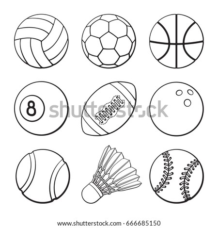 Vector illustration. Hand drawn doodles of football, soccer, basketball, volleyball, baseball, tennis, badminton, bowling and billiards balls. Set of sports balls. Cartoon sketch.  Design elements
