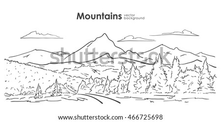 Vector illustration: Hand drawn Mountains sketch with forest, road and clouds. Line design