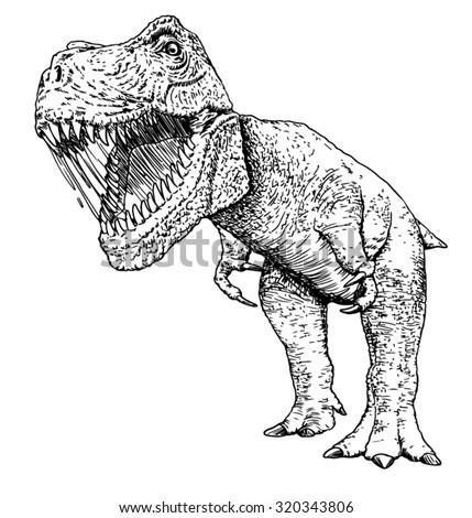 Vector Illustration Hand Drawn Sketch Dinosaur Stock