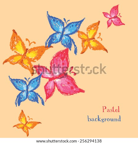 Vector illustration handmade drawing pastel chalks butterfly background - stock vector