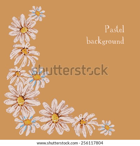 Vector illustration handmade drawing pastel chalks floral background - stock vector