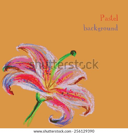 Vector illustration handmade drawing pastel chalks floral background lily - stock vector