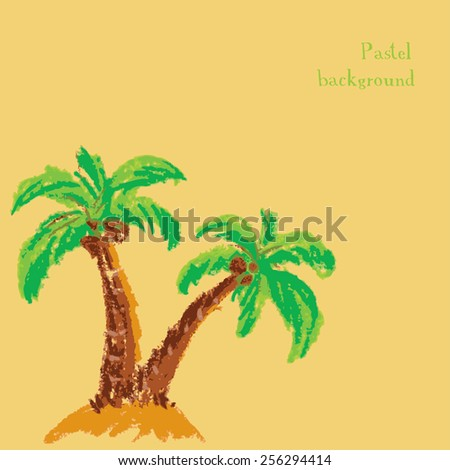 Vector illustration handmade drawing pastel chalks palm tree background - stock vector
