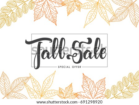 Vector illustration: Handwritten brush lettering of Fall Sale on foliage background. Discount special offer.